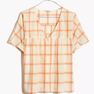 NWOT Rhyme Button-Front Top in Plaid